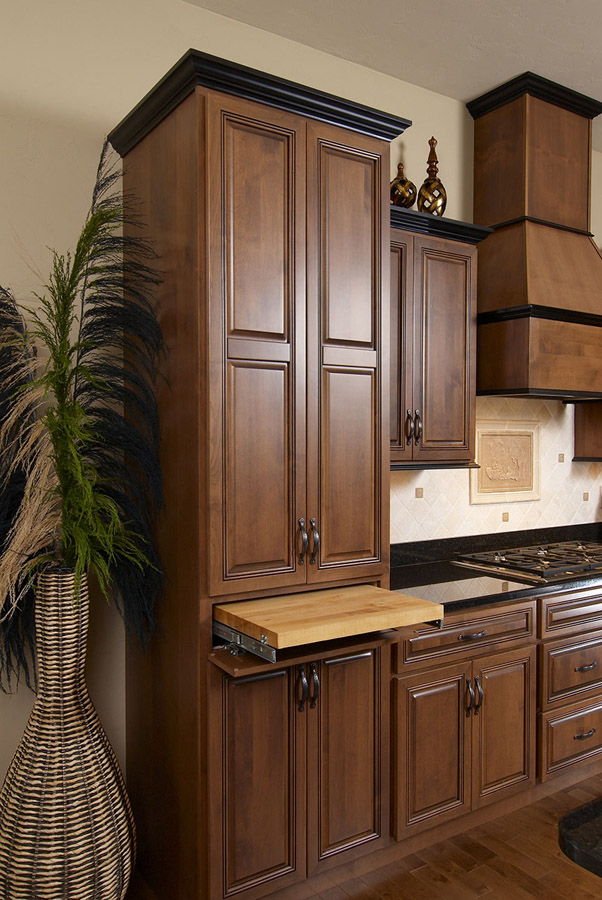 Alder Pullouts, Heirloom Stain with Glaze, Wellington Doors and Drawers, Midnight Stain on Maple trim