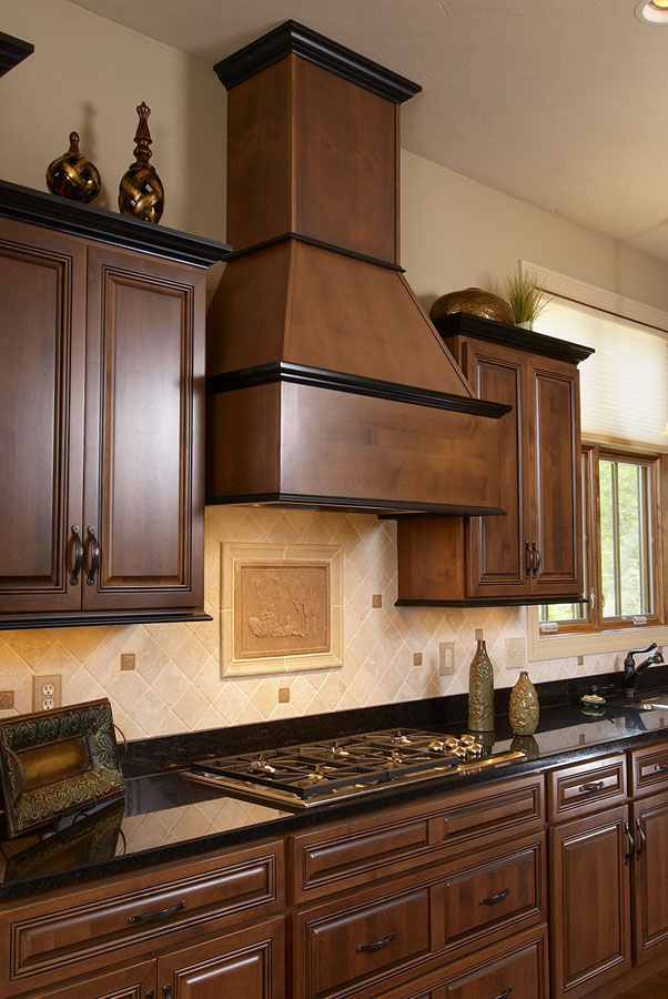 Alder with Heirloom Stain and Glaze, Wellington Doors and Drawers, Midnight on Maple trim