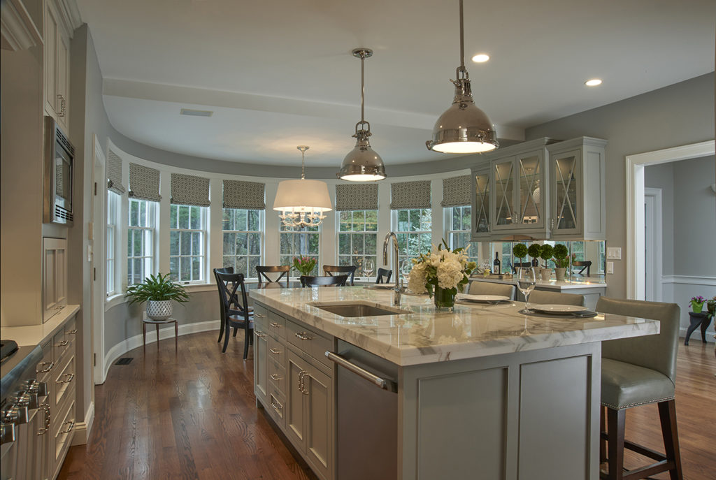 Crushed Ice maple perimeter with Graystone maple island, Newport doors and drawers
