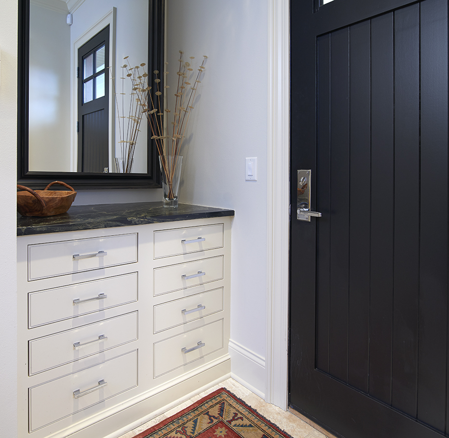Foyer with Frosty White maple inset drawers