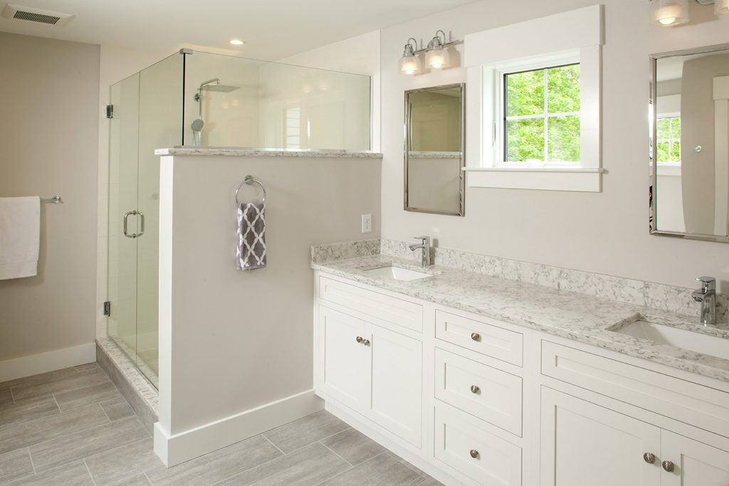 Frosty White vanity with inset Shakertown door and drawer fronts
