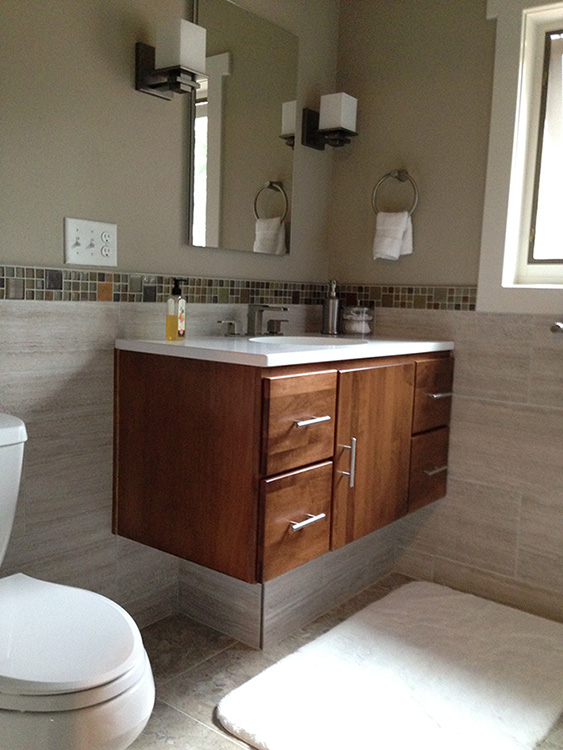 Hazelnut stain on maple vanity with Bradford door and Slab drawer fronts