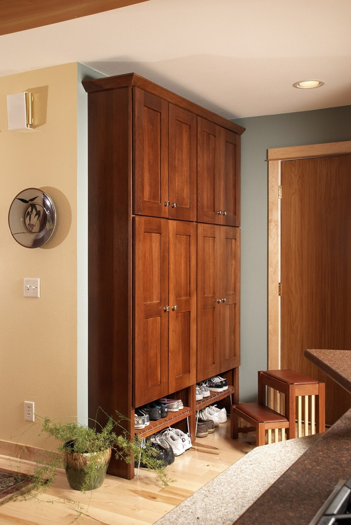 Hickory Lockers with Brandy Stain and Lexington Doors with full overlay