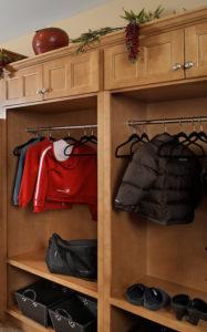 Maple Mud Room in custom stain with Lancaster Doors in Standard Overlay