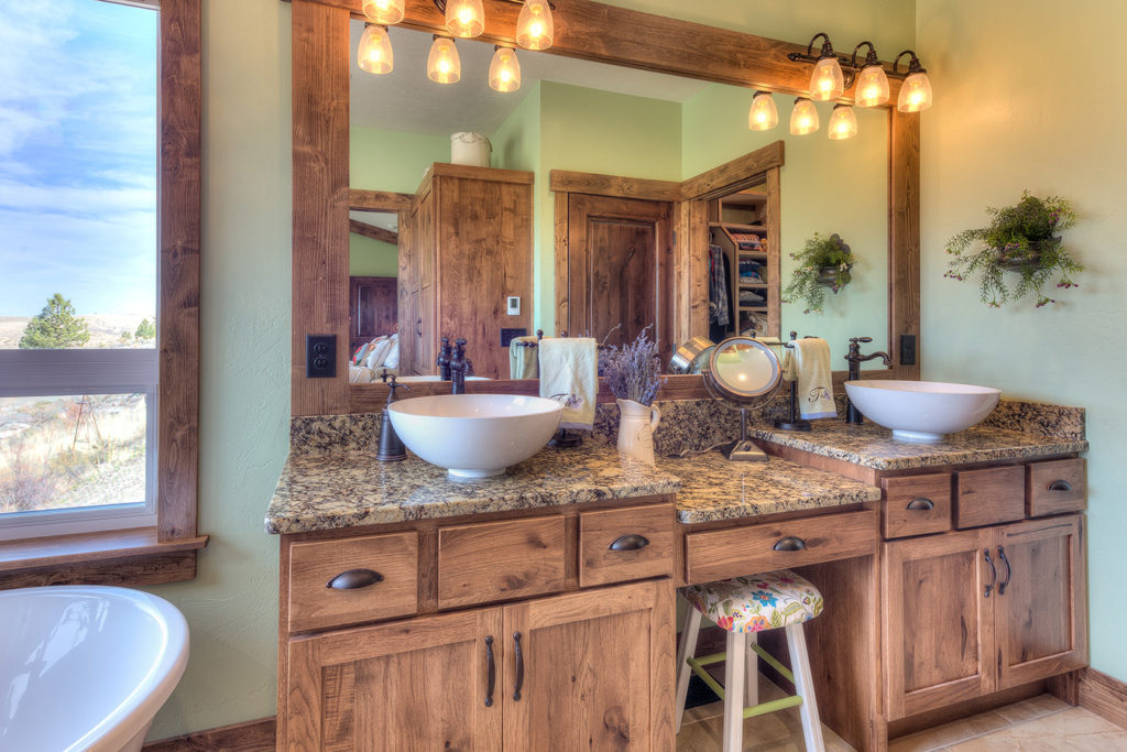 Vanity-Shakertown IV door style with Heirloom stain on rustic hickory