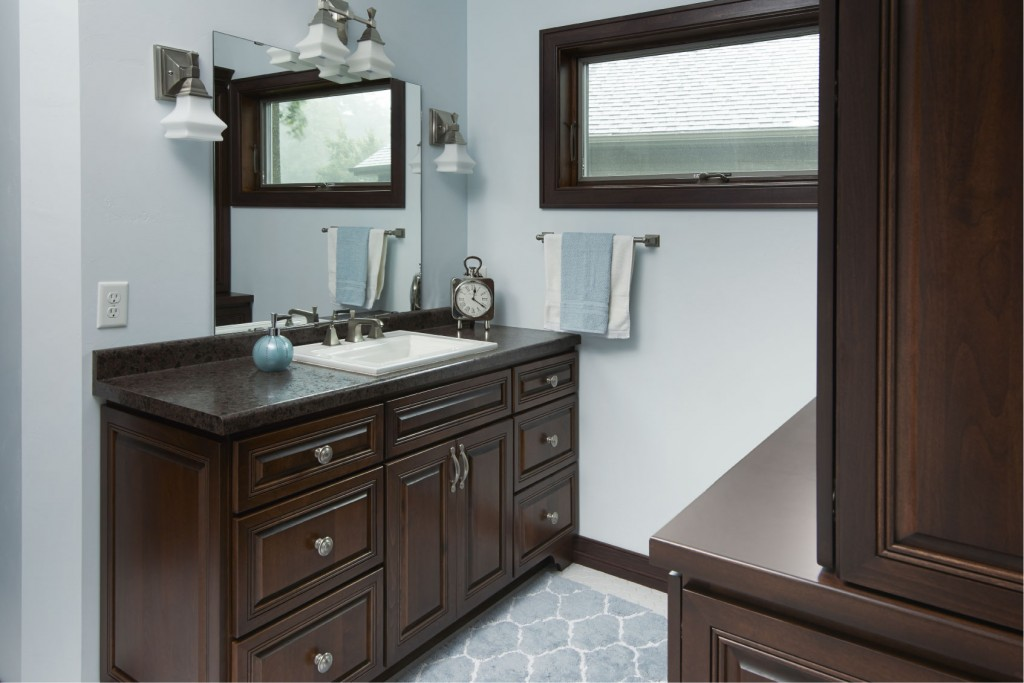 Vanity in Alder with Java Stain, Wellington Doors and Drawers with Full Overlay, Deluxe Series