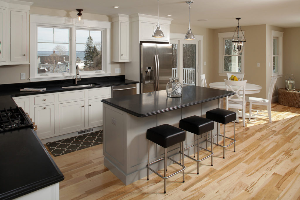 White opaque maple inset kitchen with contrasting gray island