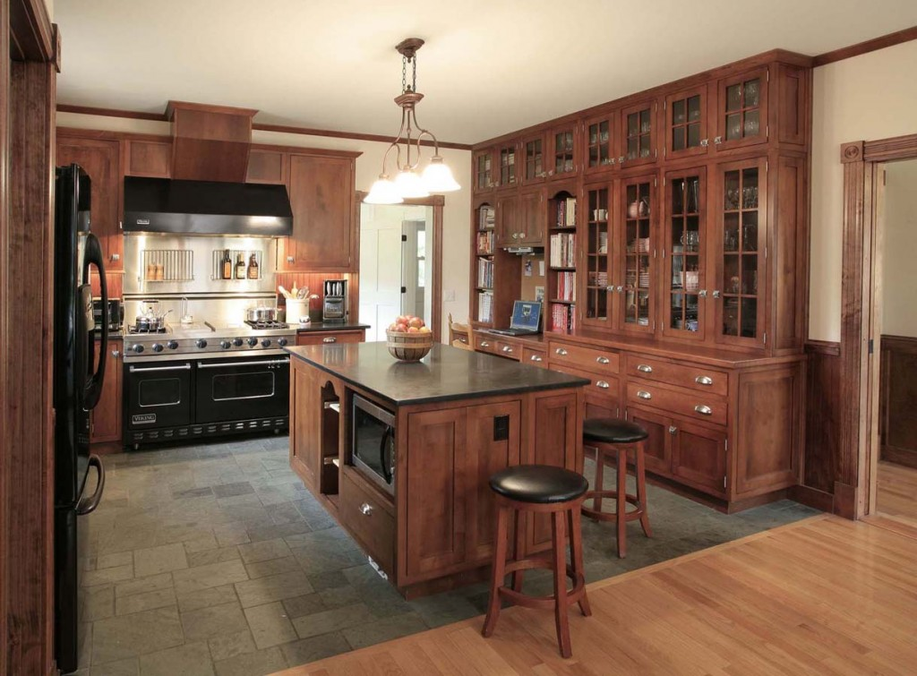 Maple with Brandy Stain, Shakertown IV Doors and Slab Drawers, Traditional look of Inset with Finial Hinges