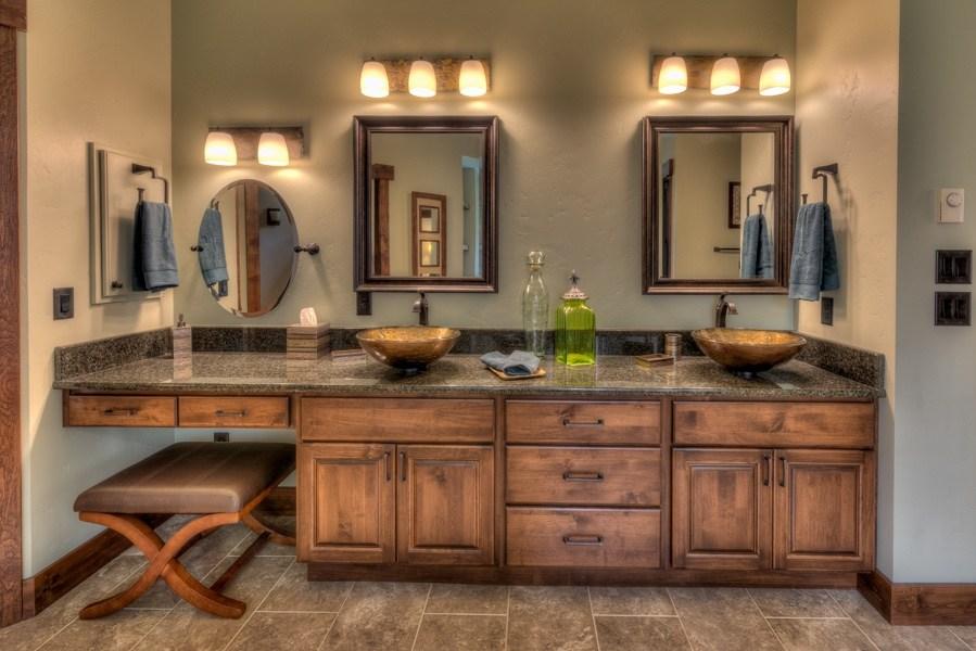 Master Bath, Independence Door, Slab Drawer, Alder with Hazelnut Stain
